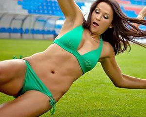 Thumb for Women's Soccer Team Plays in Bikinis