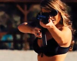 Bikini Girls testing Machine Guns