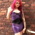 Purple Latex Mini Skir