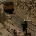 Guy Almost Crushed By Runaway Train Car