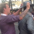 Guy gets punched by street performer!
