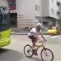 Douchebag Cyclist Owned By Bus