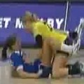 Two Girls Fall And Land In An Awkward Position