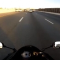 Motorcycle dodges wreck on freeway