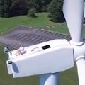 Drone Catches A Man Sunbathing On A Wind Turbine