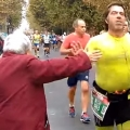 Thumb for Grandma gives high-fives at marathon