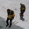 Ladder Crossing on Mt. Everest
