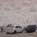 Russian Avalanche Destroys Carpark