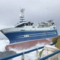 Fishing Trawler in Rough Seas and Massive Waves