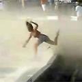 Girl Blown by a Plane