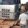 Large truck on wooden bridge, bad idea